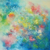 angels-wish-100x100cm-mixed-media-and-oil-on-canvas-kristina-sretkova-berlin-2013