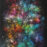 cosmic-geyser-130x97cm-mixed-media-and-oil-on-canvas-kristina-sretkova-sofia-2014